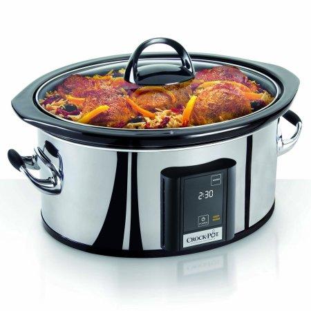 Crock-Pot 6.5 Qt. Programmable Touchscreen Slow Cooker, Silver 4 Piece Multi Cooker