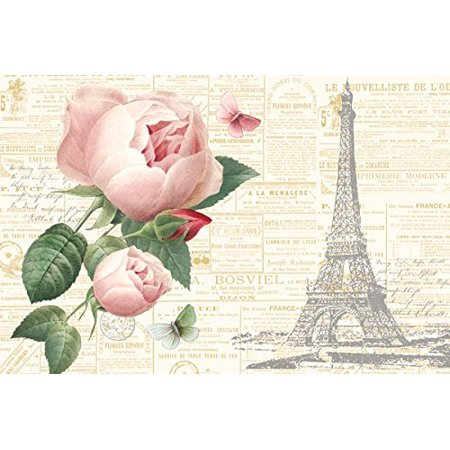 Gorgeous Pink Paris Floral Rose, Butterfly and Eiffel Tower Prints by Katie Pertiet; One 18x12in Paper Posters. Pink/Cream/Green
