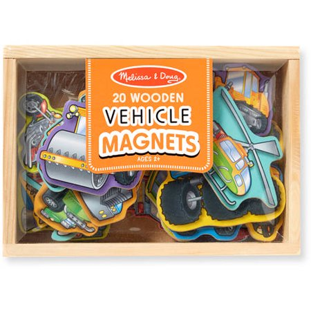 Melissa & Doug Wooden Vehicle Magnets in a Box, 20pc