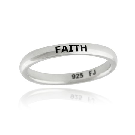 Sterling Silver FAITH Engraved Stackable Ring, Sizes 6-10 (6)