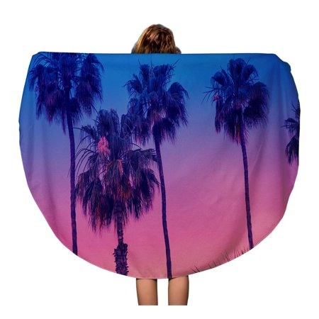 POGLIP 60 inch Round Beach Towel Blanket Row of Tropic Palm Trees Against Sunset Sky Gradient Travel Circle Circular Towels Mat Tapestry Beach Throw - image 2 of 2