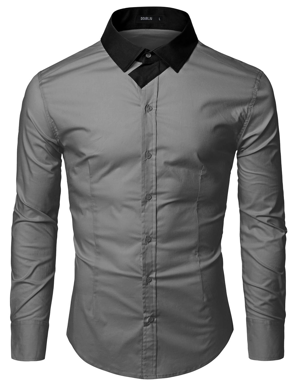 Doublju Men Long Sleeve Point Color Collar Designed Dress Shirts