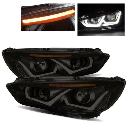 for 15-17 ford focus u-bar halo/led signal dark smoke/amber projector  headlights - walmart com