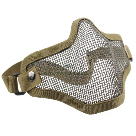 Airsoft Paintball Protective Half Face Mask With Hunting Steel Net Mesh 20 * 15CM