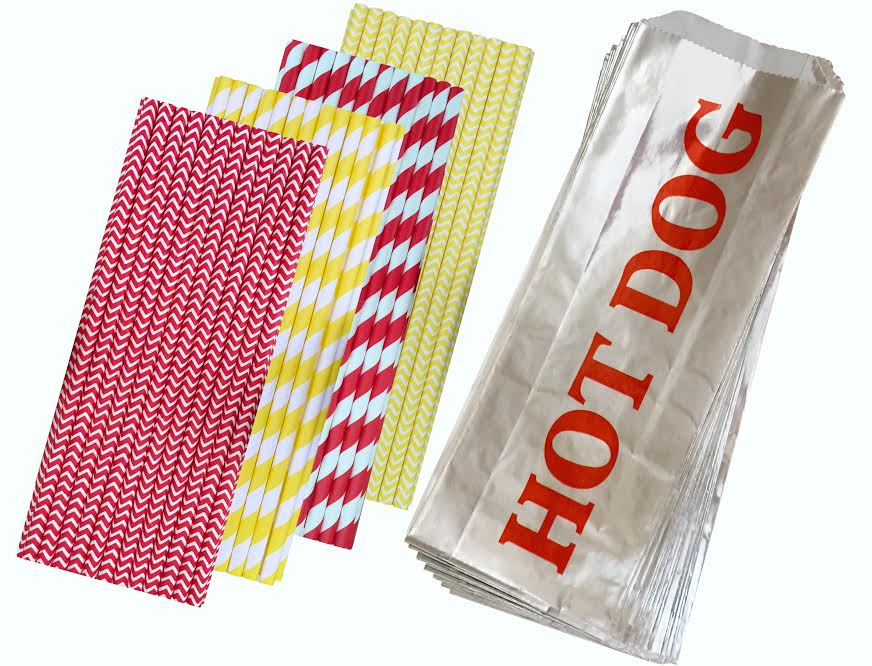 Printed Foil Hot Dog Bags and Paper Straws 100 Each by