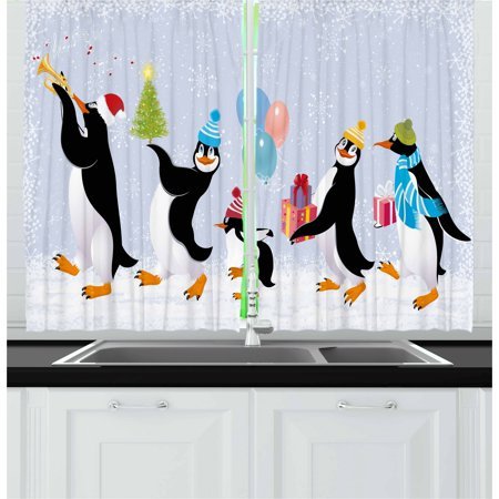 Christmas Curtains 2 Panels Set, Group of Cute Penguins in Caps Walking on Snow with Surprise Christmas Presents, Window Drapes for Living Room Bedroom, 55W X 39L Inches, Multicolor, by