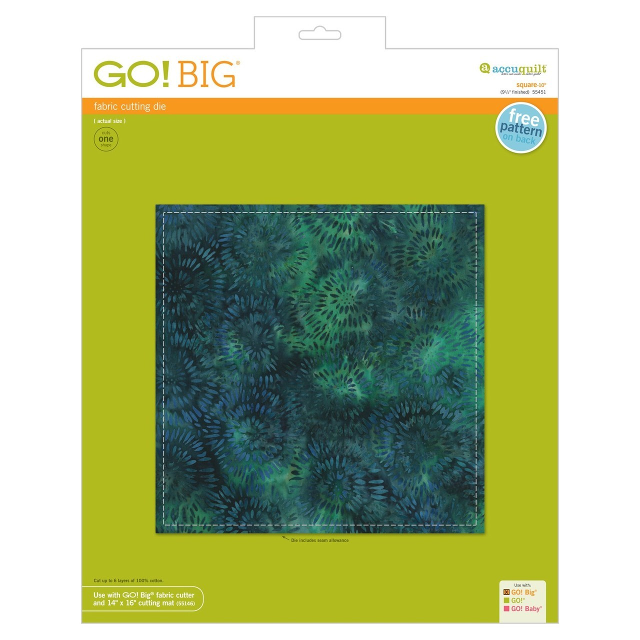 "Image of AccuQuilt GO! Big Fabric Die Square 10"" (9 1/2"" Finished) 55451"