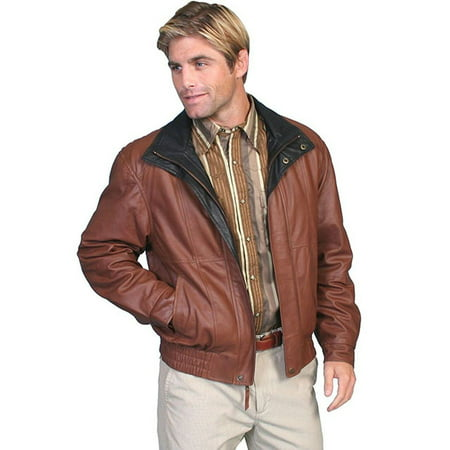 Scully Western Jacket Mens Leather Zip Comfort Waist Brown 48-33