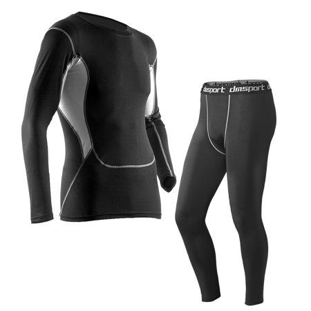 Baselayer Tights Set-Allcaca Mens Quick Dry Compression Baselayer Tights Set Men Sports Compression Set Long Sleeve T-shirt + Pants