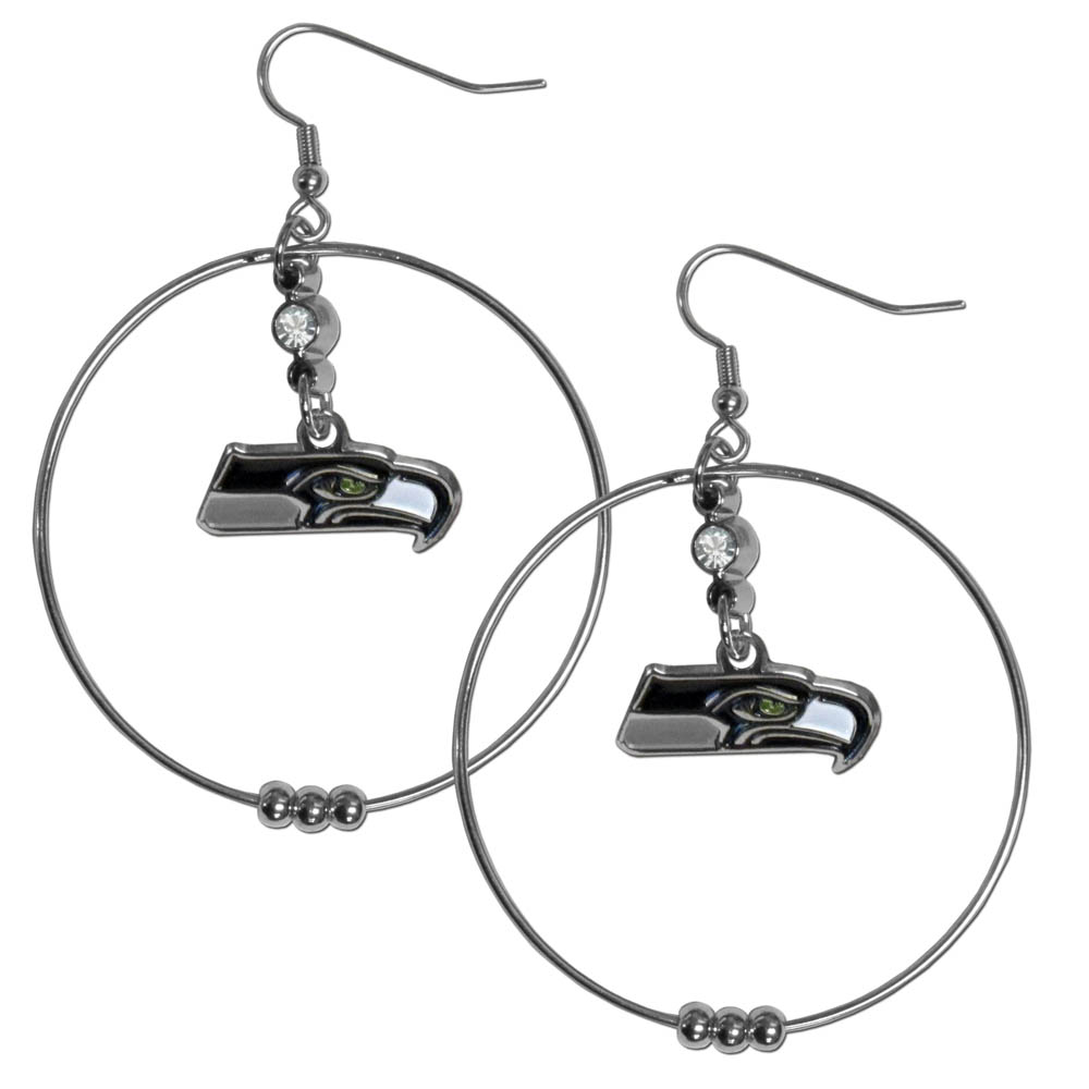 Seattle Seahawks Official NFL Hoop Earrings by Siskiyou 277269