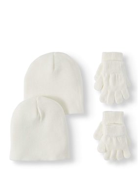 Wonder Nation Girl's Knit Beanie and Glove Combo 2-Pack