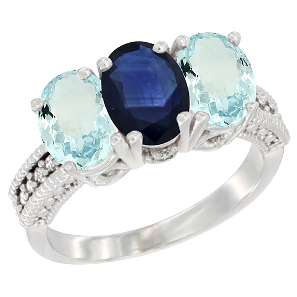 14K White Gold Natural Blue Sapphire & Aquamarine Sides Ring 3-Stone Oval 7x5 mm Diamond Accent, sizes 5 10 by WorldJewels