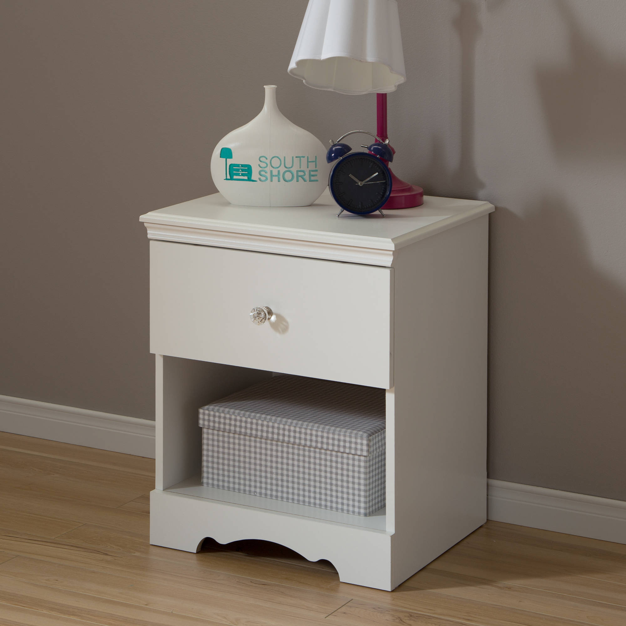 South Shore Crystal Nightstand, White
