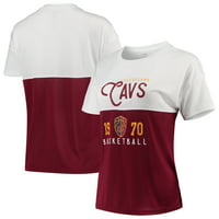 Cleveland Cavaliers FISLL Women's Interlock Mesh Combo Short Sleeve T-Shirt - White/Wine