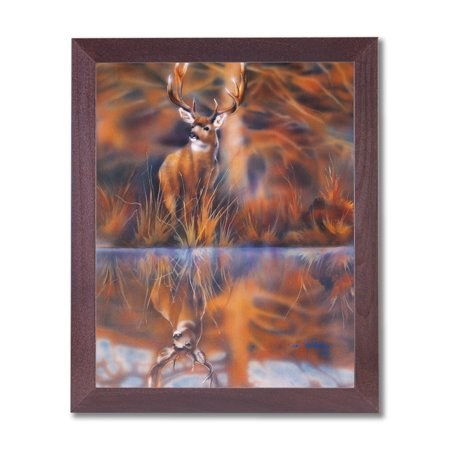 Whitetail Buck Deer Big Antler Rack Animal Wildlife Cabin Lodge Wall Picture Cherry Framed Art Print ()