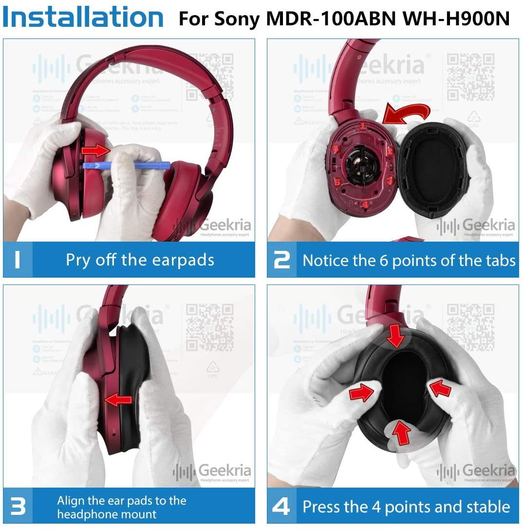 Geekria Earpad Replacement for Sony MDR 100ABN WH H900N Headphone Replacement Ear Pad Replacement Earpads Ear Cushion Ear Cups Ear Cover Earpads Repair Parts Red