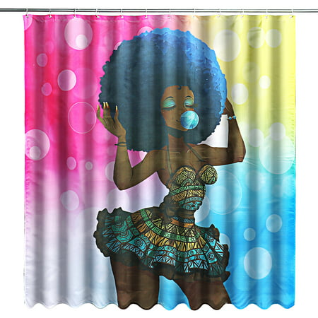 71''x71'' African Girl Shower Curtain Waterproof Fabric Shower Curtain with 12 Hooks Home Decor - Girl Shower
