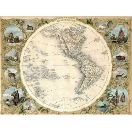 Map of the Western Hemisphere 1850 Poster Print by John Tallis ()
