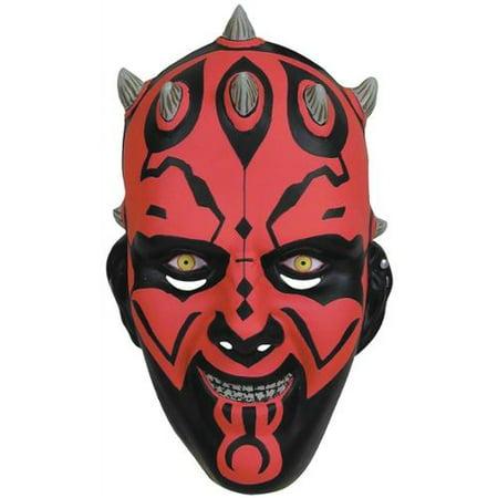 Darth Maul Star Wars Plastic Mask Black Red Halloween Adult Costume Accessory