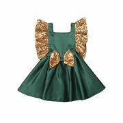 Baby Girl Gold Sequin Backless Princess Dress with Bow for Wedding Birthday Party Pageant