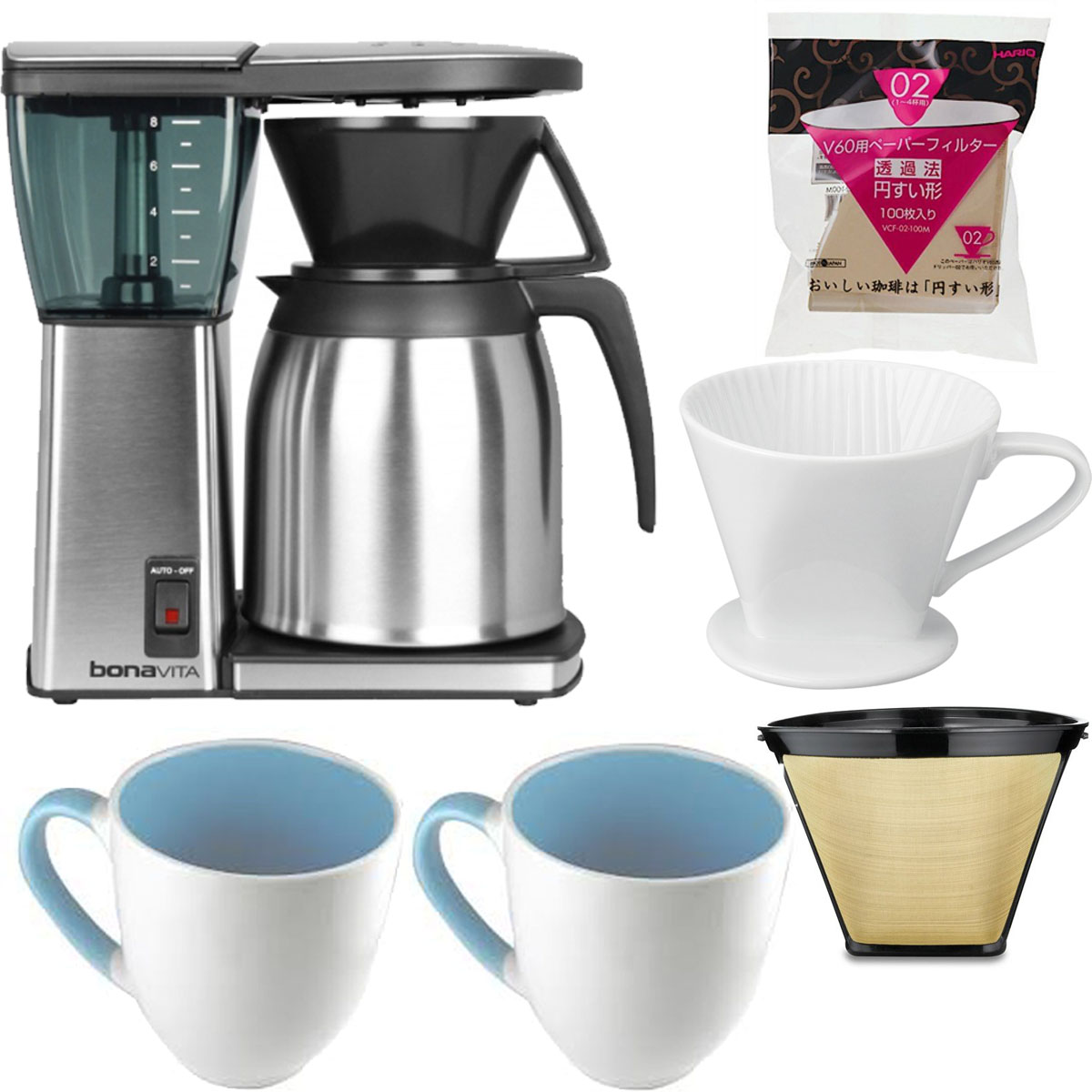 Bonavita 8 Cup Coffee Maker With Thermal Carafe Bundle
