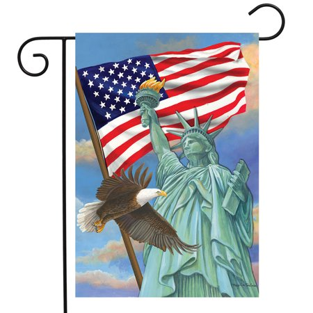 - Symbols of Freedom Patriotic Garden Flag Statue of Liberty Eagle 12.5