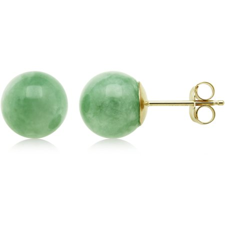 Natural Green Jade 14kt Yellow Gold Uni Round Stud Earrings