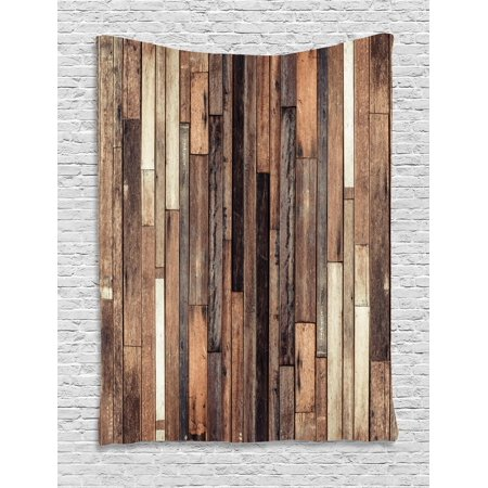 Wooden Tapestry, Brown Old Hardwood Floor Plank Grunge Lodge Garage Loft Natural Rural Graphic Artsy Print, Wall Hanging for Bedroom Living Room Dorm Decor, Brown, by - Brown Tapestry