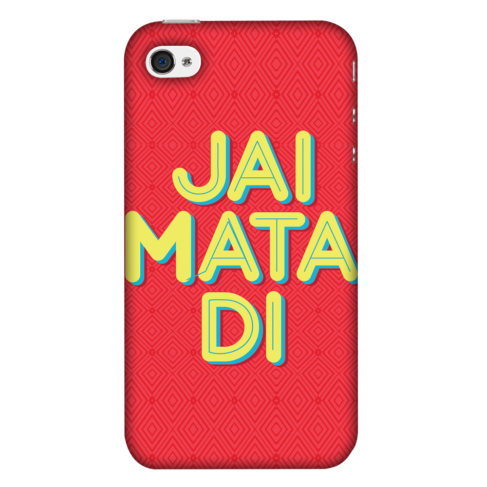iPhone 4S Case, iPhone 4 Case - Jai Mata Di,Hard Plastic Back Cover, Slim Profile Cute Printed Designer Snap on Case with Screen Cleaning Kit