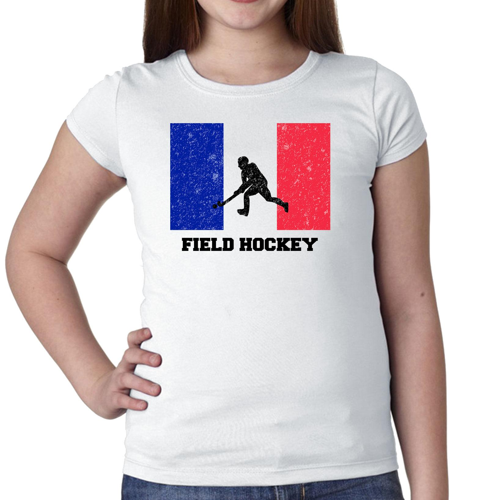 France Olympic Field Hockey Flag Silhouette Girl's Cotton Youth T-Shirt by Hollywood Thread