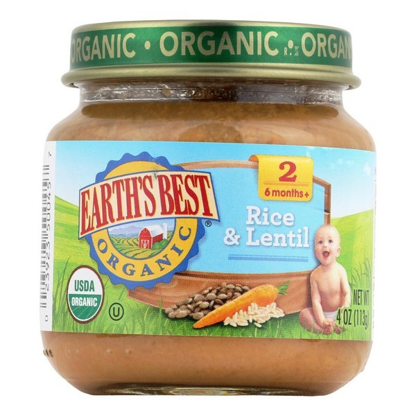 Earth's Best Organic Rice And Lentil Dinner Baby Food - Stage 2 - Pack of 12 - 4 Oz.