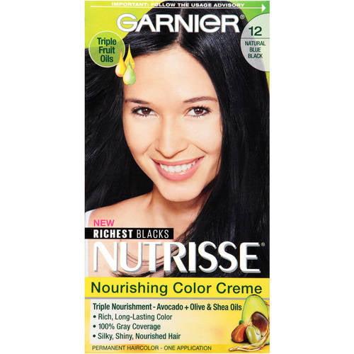 Garnier Nutrisse Nourishing Hair Color Creme Blacks 12 Natural Blue Black 1 Kit