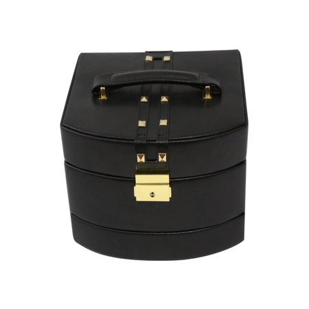 Leather with Studs 3-Level Travel Jewelry Box
