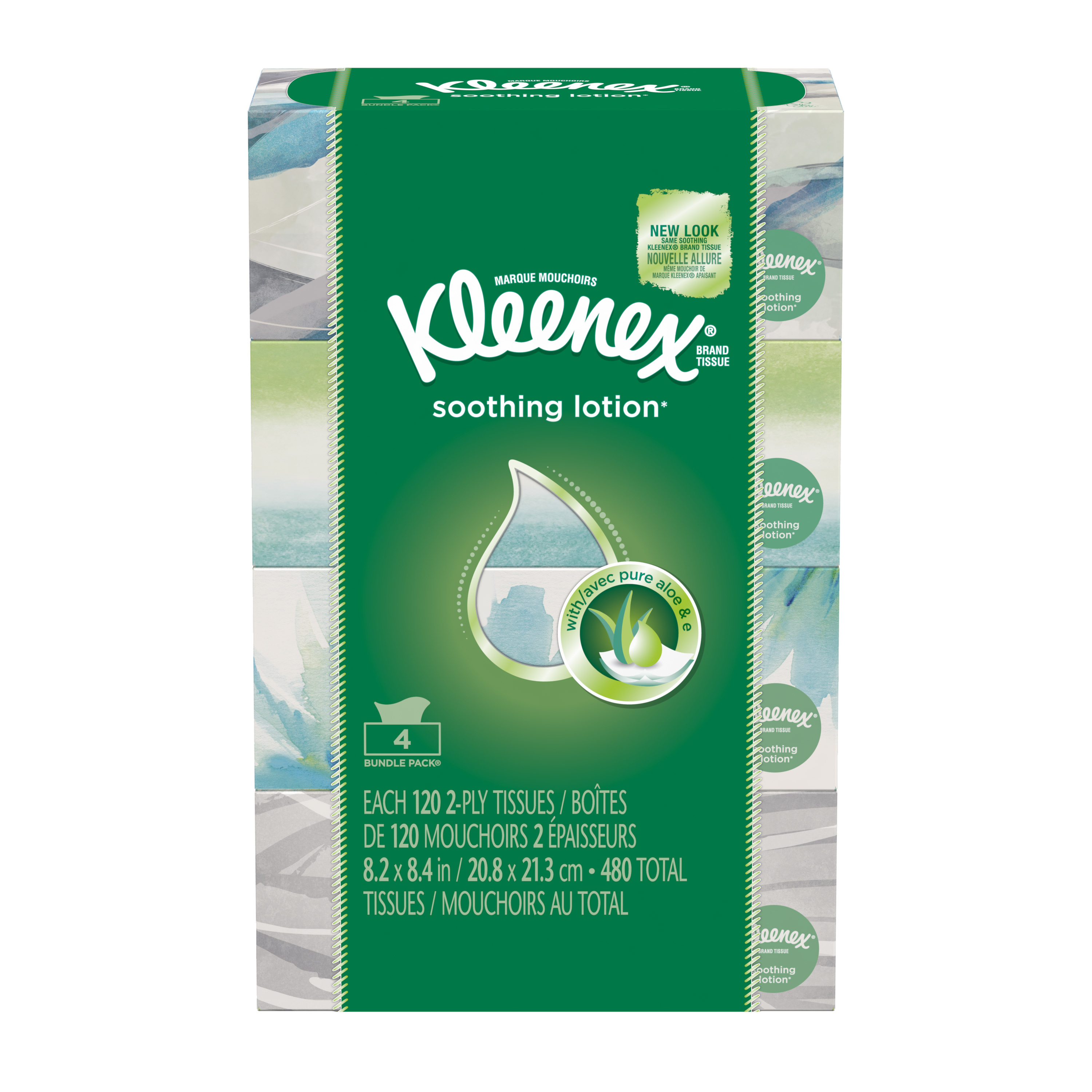 Kleenex Facial Tissues with Lotion, 120 Tissues per Flat Box, 4 Pack