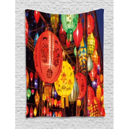 Lantern Tapestry, International Chinese New Year Celebration China Hong Kong Korea Indigenous Culture, Wall Hanging for Bedroom Living Room Dorm Decor, Multicolor, by - Chinese New Year Celebration Ideas