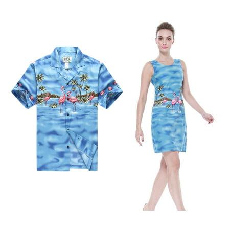 Made in Hawaii Couple Matching Hawaii Luau Aloha Shirt Tank Dress in Pink Flamingos in Blue Men L Women 2XL (Hawaiian Womens Clothes)