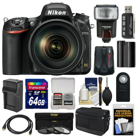 Nikon D750 Digital SLR Camera & 24-120mm f/4 VR Lens with 64GB Card + Battery & Charger + Messenger Bag + GPS Unit + Filters + Flash +