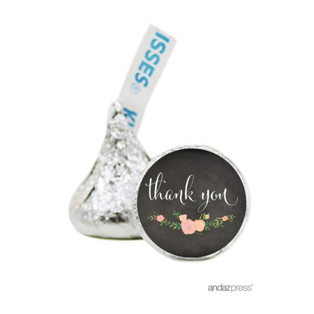 Thank You Black Chalkboard Floral Wedding Hershey´s Kisses Stickers, 216-Pack