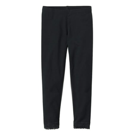 Vivian's Fashions Capri Leggings - Girls, Cotton, Lace - Lace Trim Capri Leggings