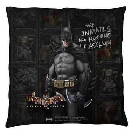 Trevco Bm2665 Plo3 16X16 Batman Arkham Asylum Inmates Throw Pillow  White   16 X 16 In