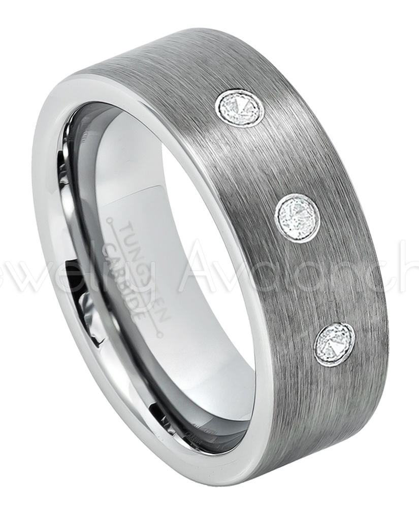 Jewelry Avalanche Black IP Cobalt Ring Pipe Cut Cobalt Wedding Band 8mm Brushed Finish Comfort Fit Cobalt Ring