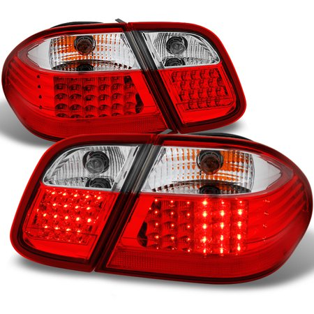 98-02 Benz W208 CLK Class Red Clear LED Tail Lights Brake Lamps Replacement Sets Class Led Tail Lights Lamps