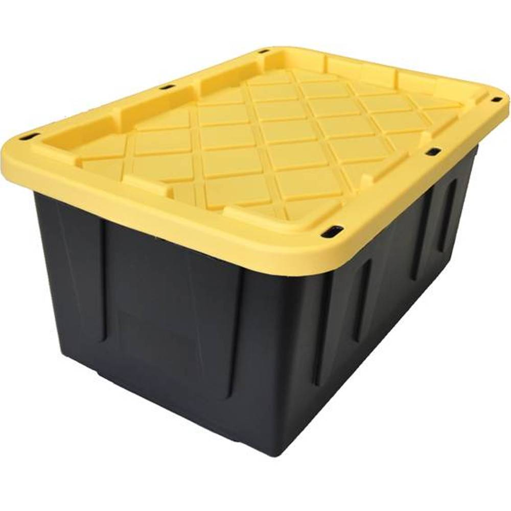Homz 15-Gallon Tough Tote, Black/Yellow
