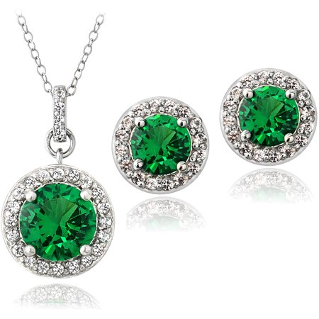 5.25 Carat T.G.W. Created Green Quartz and Created White Sapphire Sterling Silver Round Stud Earrings and Necklace