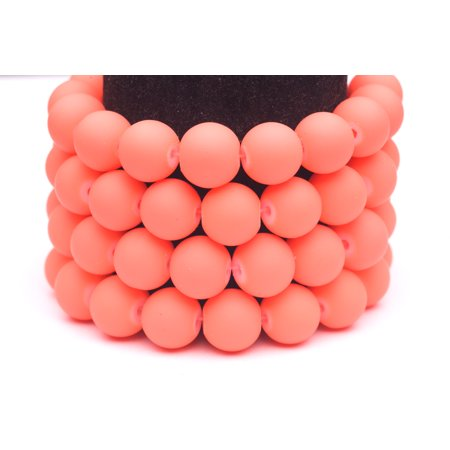 Frosted Glass Beads pink Rubber-Tone Beads 12mm Round Sold Per Pkg of 1x32Inch (76