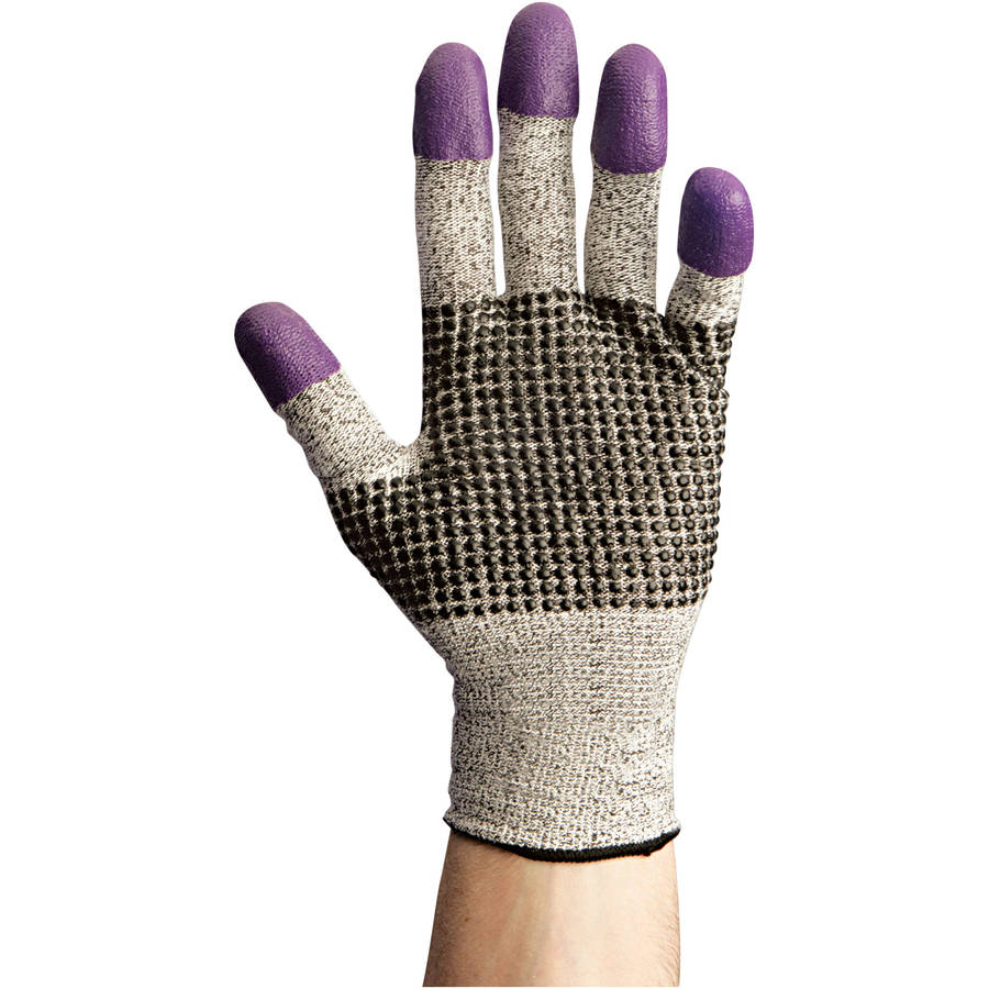 Kimberly-Clark Professional KleenGuard G60 Nitrile Cut-Resistant Gloves, Medium Size 8, Black/White/Purple, 12 count