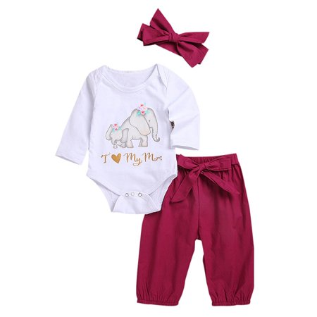 Funcee 3pcs/set Baby Girls Clothing Set Cotton Long Sleeve