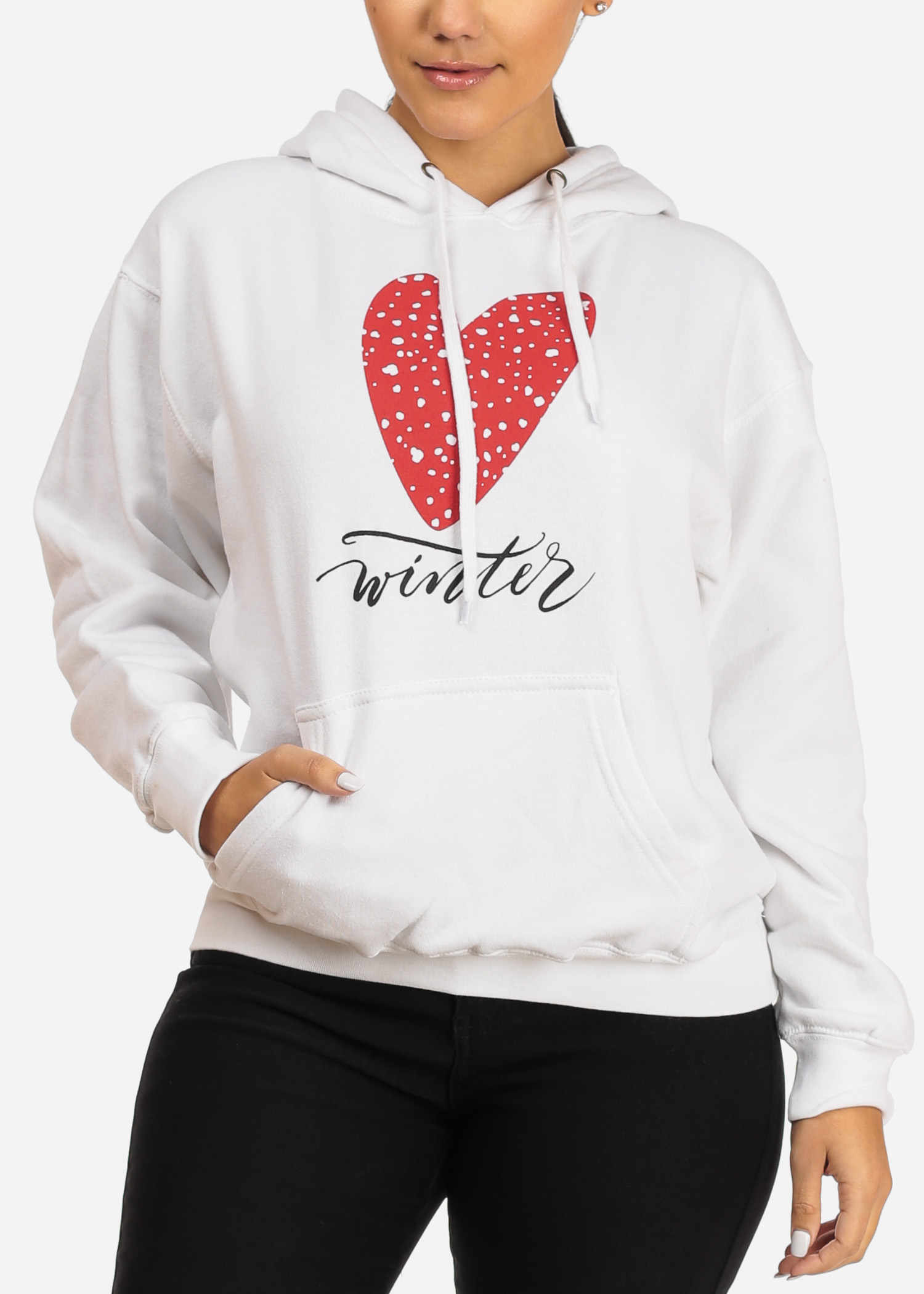 Womens Juniors Cozy Winter Love Graphic Print Long Sleeve White Sweater W Hood 30666S