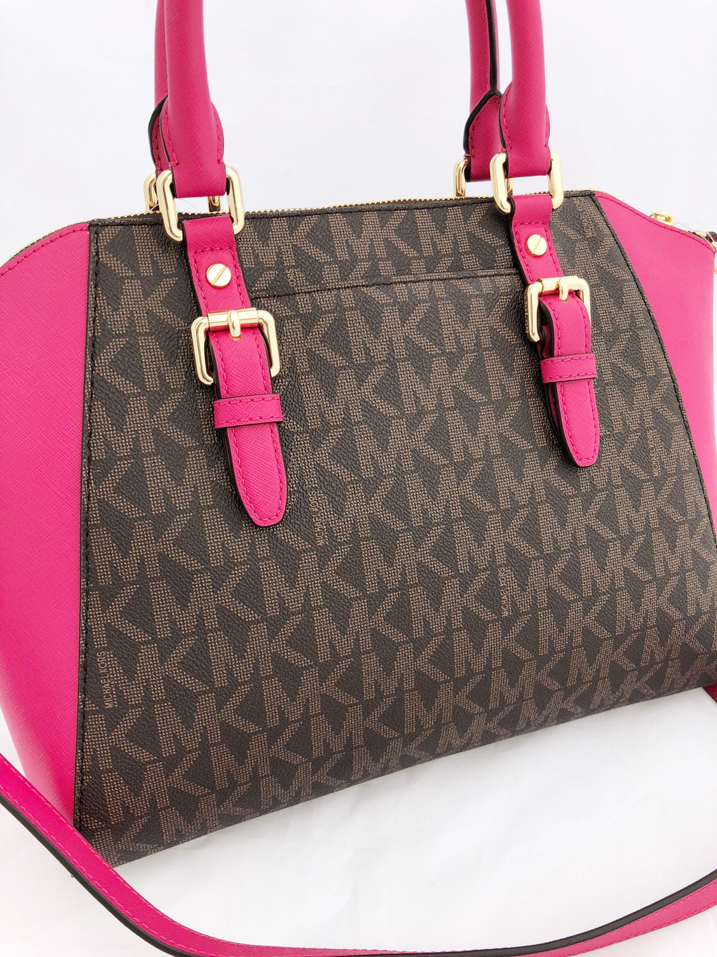 86dc08dbd06eb3 Michael Kors - Michael Kors Ciara Large Zip Satchel Crossbody Brown MK  Ultra Pink - Walmart.com