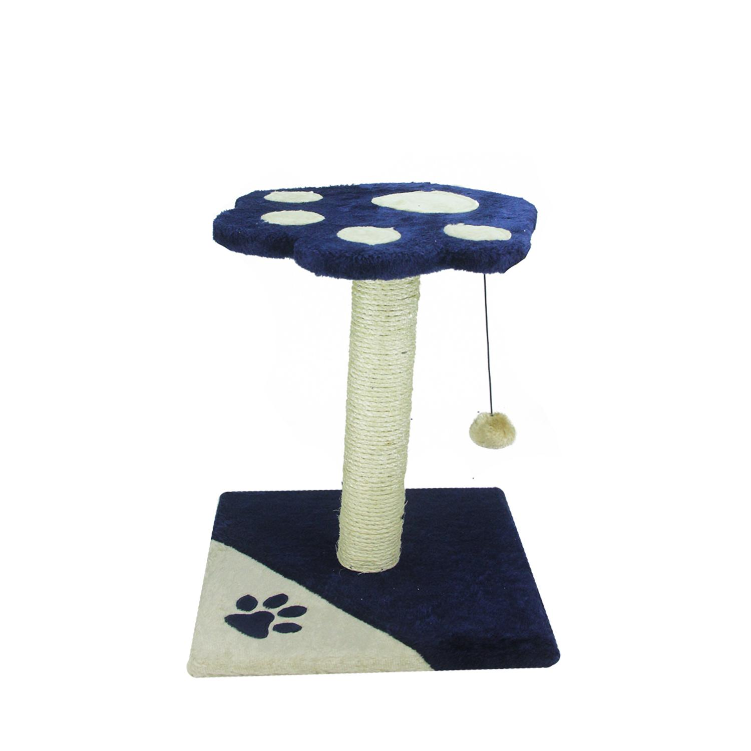 "17.5"" Navy Blue and Ivory Faux Fur Paw Print Platform Perch Sisal Scratching Post for Cats by Speedy Pet"